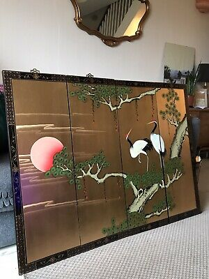 Lovely Set Of 4 Lacquered Wooden Oriental Wall Panels Plaques Red Sun Birds