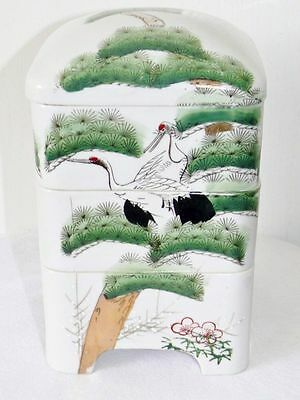 Antique Signed Chinese Crane Pine Tree Stacking Porcelain Box Boxes 3 Tier & Lid