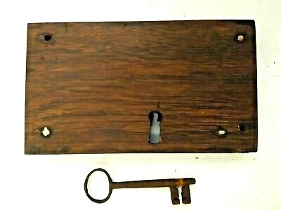 Antique OAK RIM LOCK with KEY, 1800's, iron mechanism, restored, fully working.