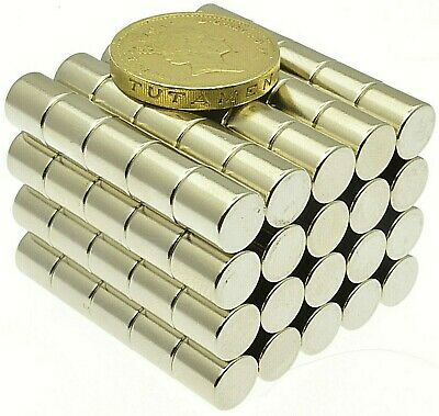 Super Strong Neodymium Magnets ( 8mm x 8mm ) N45 Pull force 2.5Kg Powerful Disc