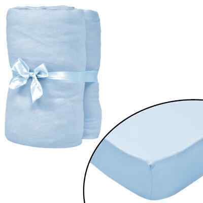 vidaXL 4x Fitted Sheets for Cots Cotton Jersey 70x140cm Light Blue Protector#
