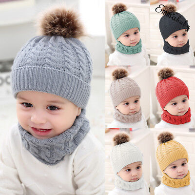 Baby Toddler Boy Girl Winter Warm Knitted Crochet Beanie Hat Cap Scarf Sets Xmas