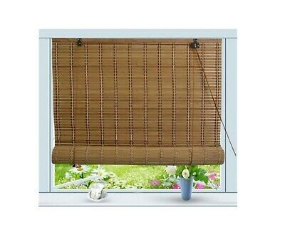 Light Brown Window Shade Bamboo Roman Wooden Roll Up Filter Shades Privacy Drape