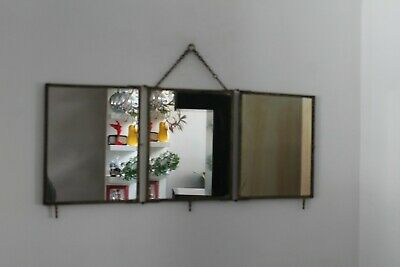 Ancien grand MIROIR Miror de BARBIER 1900 TRYPTIQUE en BRONZE ciselé