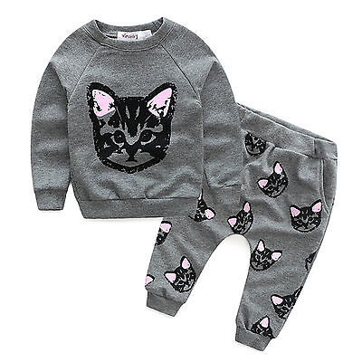 Girls Sweatshirt Cat Tops Pants 2PCS Toddler Kids Baby Tracksuit Outfits Clothes