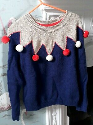 Mini Boden Navy Blue Gold Red Pom Pom Jumper - 5-6 Years