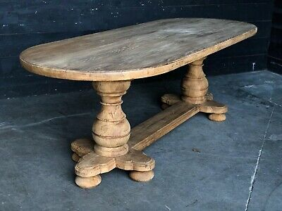 French Bleached Oak Farmhouse Kitchen Dining Table, Refectory, Circa 1860