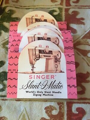6 Vintage Sewing Needle Book Advertising SINGER SLANT-O-MATIC ZIGZAG MACHINE