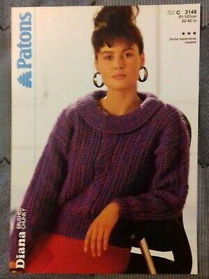 Patons DK ladies Ladies Cable Edge Sweater knitting Pattern PBN D 2549