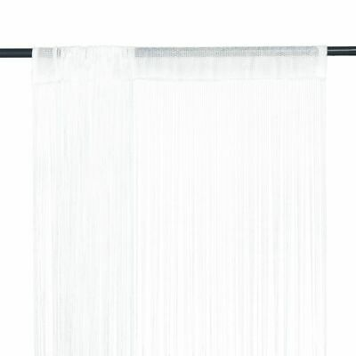vidaXL 2x String Curtains 140x250 cm White Room Divider Window Door Background~
