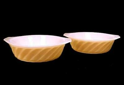 "2 Fire King Copper Tint Shell 5"" Casserole Anchor Hocking Peach Lustre Mini Dish"