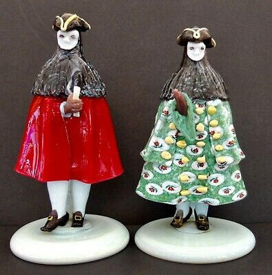 "Pair Of Antique Murano Venetian Glass Carnival Masked Bauta Figurines 8.5"" Tall"