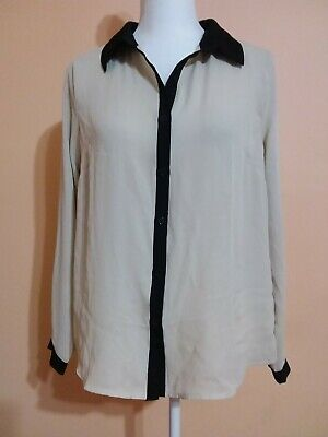 One Clothing Blouse Size L Long Sleeve Buttons Down Beige/Black Casual Office
