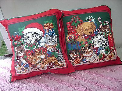 Kittens And Puppies  Christmas     One Pair Of Cushion 40  Cm / 16 Inches