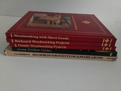 Lot Of 5 Woodworking Books, projects, carving, Set,