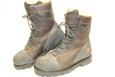 Timberland Pro Mens 9 M 43 Leather Mid Lace Up Steel Toe  Work Boots 95553 1454