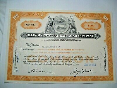 1963 Illinois Central Railroad Company Stock Certificado