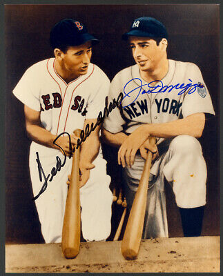Joe DiMaggio Ted Williams HOF Red Sox Yankees Dual Signed Auto 8x10 Photo