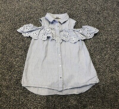 Girls River Island Shirt 9 Years Blue White Stripe Excellent Condition