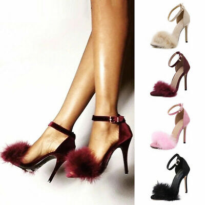 Womens Ankle Strap High Heels Sexy Sandals Faux Fur Open Toe Praty Shoes Size UK