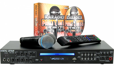 Portable Bluetooth DVD HD Karaoke Singing Machine System 2 Microphones Top LED
