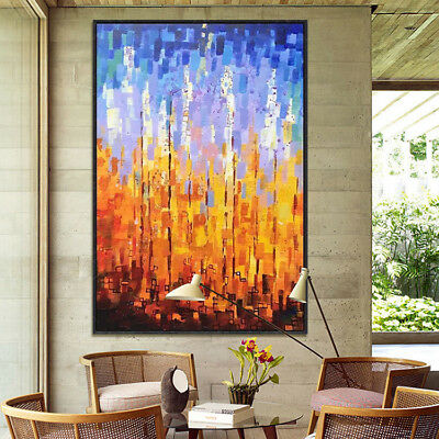 Modern HandPainted Oil Painting Abstract Warm Color Home Decor Wall Art Canvas