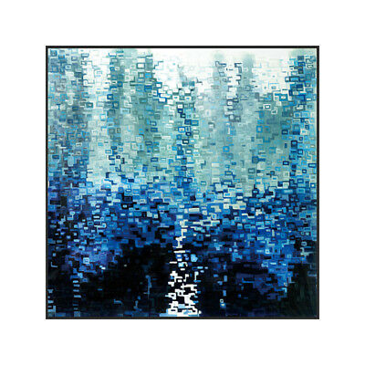 Modern Abstract Blue Square HandPainted Oil Painting Home Decor Art On Canvas
