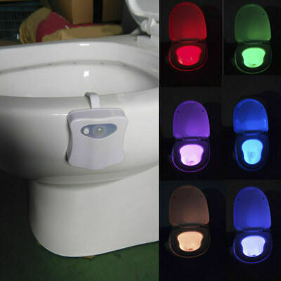 Toilet Night Light 8 Colors LED Motion Activated Sensor Lamp Bathroom Seat Bowl