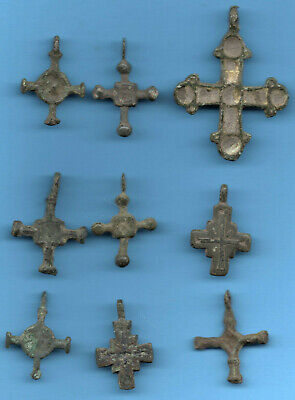 LOT OF 9 Ancient Viking Enamel Bronze Cross Kiev Russia ca 1100 Byzantine 76