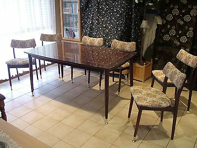 Antique Dining Table with glass protective top and 6 Chairs - 1970 era