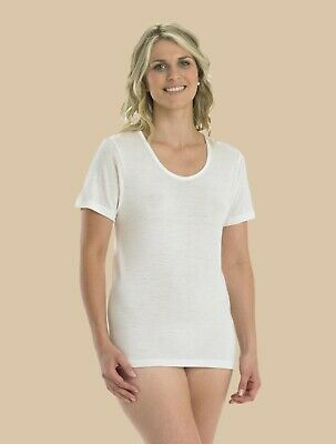 100% Wool Short Sleeve Cami by Slenderella NATURAL - 16/18