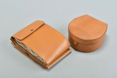 """Mid C20th Fine Leather Collar Box & Case w/ Separate 15/16"""" Shirt Collars.  TUQJ"""