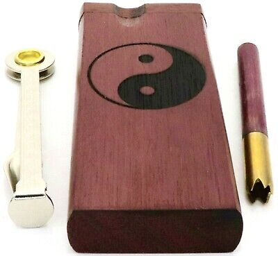 Yin Yang Purpleheart Dugout Box with Poker, Brass & Wood One Hitter + 10 Screens