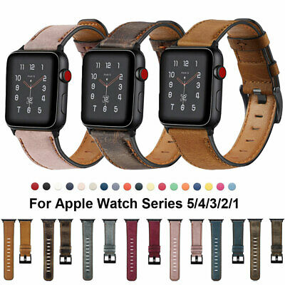 For Apple Watch Series 5 4 3 2 1 Genuine Leather Band iWatch 40 44 42 38mm Strap