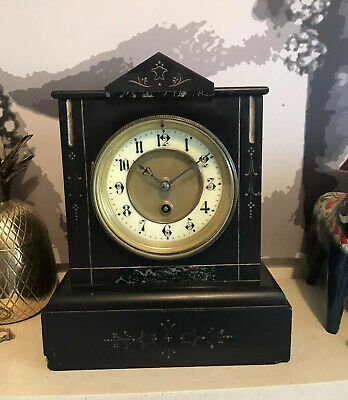Antique Slate Striking Mantle Pendulum Clock