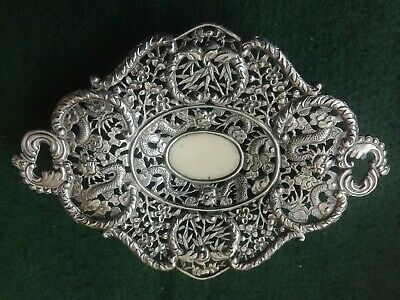 Exquisite Antique Chinese Export Silver Dish Marked W.L.