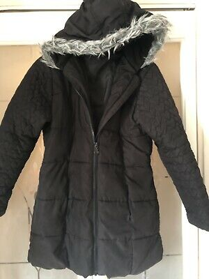 Girls Black Winter Coat age 11-12 years from George Heart Print On arms