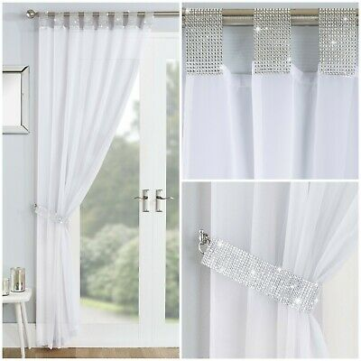 Sparkle Bling Diamante Lace Glamour White Tab Top Curtain Voile Net Panel