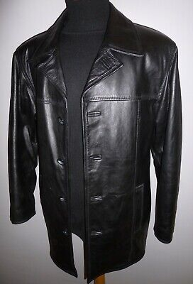 Mens Nicklebys Quality Real Leather Jacket Coat Black Blazer Size Medium