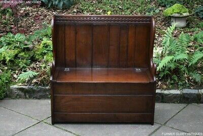 Titchmarsh And Goodwin Oak Box Settle Monks Bench Armchair Pew Hall Seat Chest