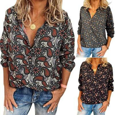 Ladies Women's Long Sleeve Button Floral V-Neck Blouse Collared Tops Shirt Loose