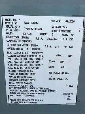 10 ton RUUD ac unit. 2 5years old runs great maintained