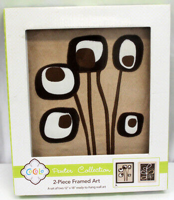 2 Pc CoCaLo Pewter Framed Wall Art Nursery Decor Embroidered Floral Design 12x18