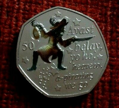 2019 Isle of Man Captain Hook - Peter Pan 50p coin - Uncirculated Colour decal