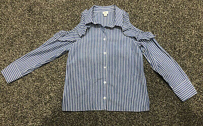 Girls River Island Shirt 10 Years Blue White Stripe Cold Shoulder Excellent Cond