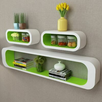3 MDF Floating Cubes Wall Storage Book CD Display Shelves Square White-green