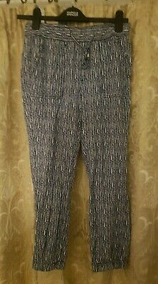 Womens Gap Trousers XS aprox 8/10 Cuff Bottoms Blue White girls comfy