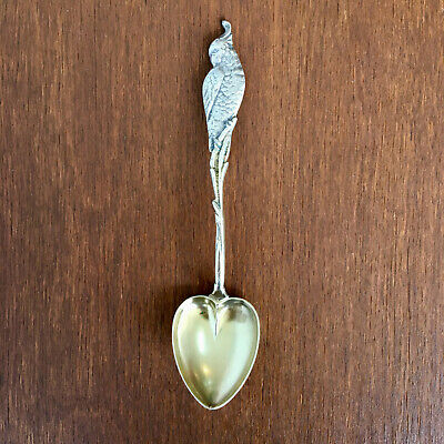 Sterling Silver Demitasse Spoon with Cockatiel, Gold Washed Bowl