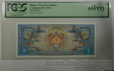 Bhutan 1 Ngultrum MS65 PPQ PCGS 1981 SCWPM#5 Royal Government Ultra Gem Dragon