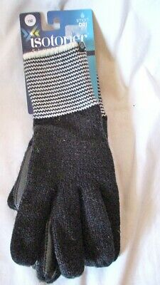 NEW! ISOTONER Black Knit Striped Cuff smarTouch smartDRI Lined Gloves One Size